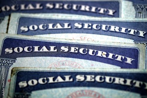 Obraz Social Security Cards Symbolizing Benefits for Elderly United Stated - fototapety do salonu