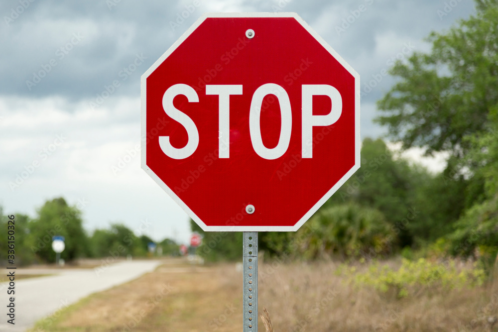 Fototapeta Stop sign on a road (USA/North American road sign)