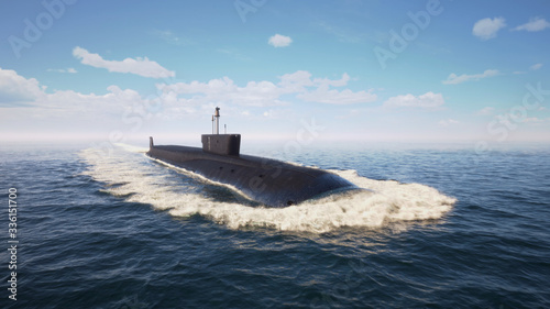 Fotografia Heavy atomic submarine floating in ocean