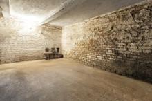 Abandoned Empty Old Dark Underground Cellar