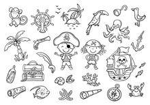 A Set Of Pirate Cliparts Suitable For Stickers