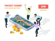 Online Casino. Winners Lucky Happy People Playing Roulette Blackjack Gambling On Smartphones And Tablets Vector Isometric Gaming Concept. Casino Online, Winner In Roulette, Lucky Game Illustration