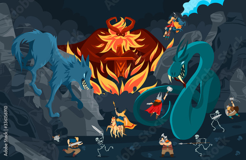 Cuadros en Lienzo Viking gods, norse mythology people and monsters cartoon characters, fight scene vector illustration