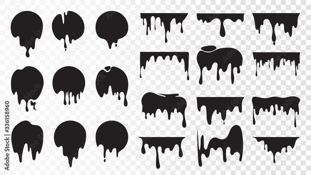 Fototapeta Black dripping ink. Isolated spots of paint, floating oil blots vector set. Blob paint, ink splatter black, stain and drip illustration