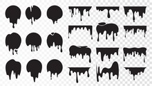 Black Dripping Ink. Isolated S...