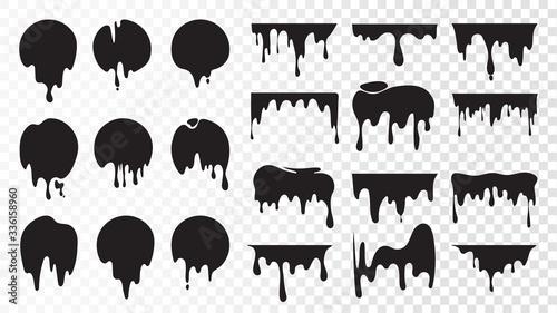 Fototapeta Black dripping ink. Isolated spots of paint, floating oil blots vector set. Blob paint, ink splatter black, stain and drip illustration obraz