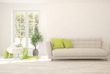 White Living Room With Sofa An...
