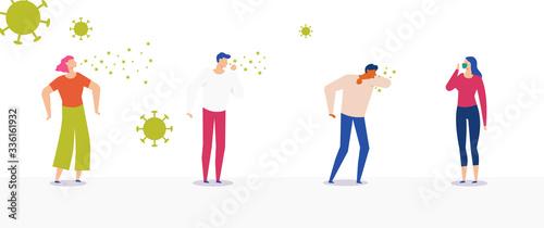 Obraz na plátně Coronavirus: set of people coughing, sneezing, using mask
