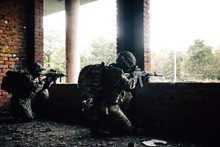 Two Military Armed Soldiers Wi...