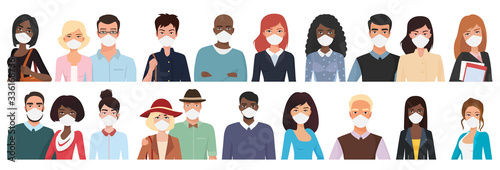 Obraz Multiracial different age people in masks cartoon flat vector illustration set. Young, middle, over aged men, women with masks, visible upper body part and faces, in two rows, looks straight to viewer - fototapety do salonu