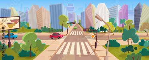 Crossroad and cityscape at big modern city cartoon vector panorama illustration concept Canvas