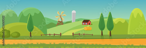 Obraz Cute rural landscape panorama with farm cartoon flat vector illustratio. Panoramic view of green fields, hills, trees, haystack, dirt road, wood hedge in front, windmill, house, grain elevator - fototapety do salonu