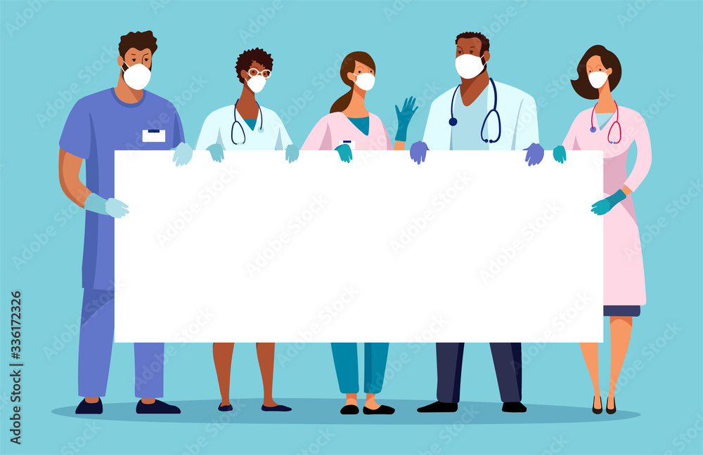 Fototapeta Medical team with a banner, place for text. Template for the design of the hospital, ambulance. Thanks to the doctors. Flat cartoon vector illustration.