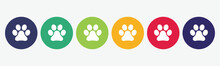 Set Of 6 Circles With Paw Prin...