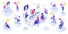 Call Center With People Or Customer Support Centre, Technical Call Line And Feedback Service. Office With Man And Woman In Headset. Phone Assistance Banner Design. Person With Speech Bubble