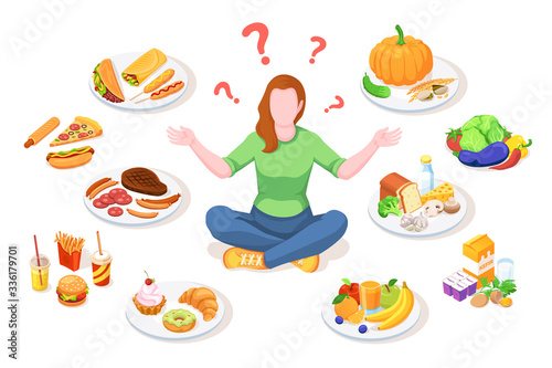 Fototapeta Woman choosing healthy and junk food. Person making choice between unhealthy and organic nutrition. Girl doing lifestyle select. Diet vector illustration design. Meal and snack, dieting decision obraz