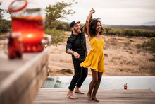 Happy Couple Dancing On Deck Of A Lodge, Cape Town, South Africa