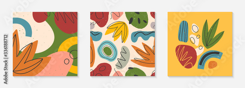 Fototapeta Set of creative universal cards and pattern.Modern vector illustrations with hand drawn organic shapes and textures.Trendy contemporary design for prints,flyers,banners,brochures,invitations,covers. obraz