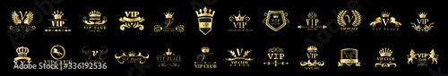 Golden Vip Logo Set - Isolated On Black Background, Vector Illustration Fototapete