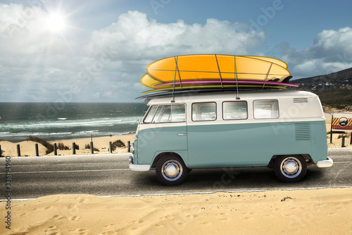 Fototapeta VW with surfboards. Guincho Portugal.