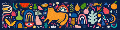 Cute spring pattern collection with cat. Decorative abstract horizontal banner with colorful doodles. Hand-drawn modern illustrations with cats, flowers, abstract elements. Abstract series - 336195167