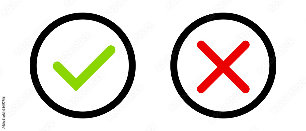Fototapeta Green tick andred cross sign in the circle . The check icon. Icons posted on a white background