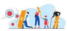 Doctor Protects People From Coronavirus Character Flat Vector Illustration Concept. Man In Hospital Gown With Shield Cares Woman, Kid And Grandfather, In Medical Masks. Covid 19 Poster, Web Banner