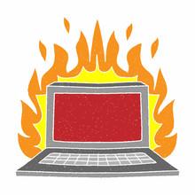 Laptop On Fire Vector Design. Digital Hand Drawn Style. Grain Texture
