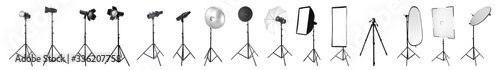 Papel de parede Professional lighting equipment for photo studio on white background