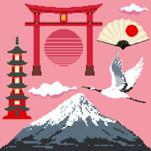 Pixel Set Of Japan Culture, Design Elements. Fuji, Torii Gate, Pagoda, Crane, Fan,  Pixel Art 8 Bit Vector.