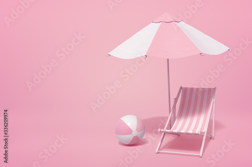 3d rendering of striped white and yogurt pink beach umbrella, beach chair and beach ball on pink background with copy space. #336209974