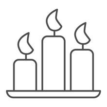 Church Candles Thin Line Icon....