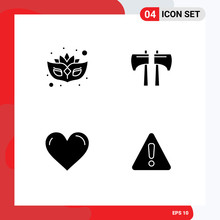Group Of 4 Solid Glyphs Signs And Symbols For Carnival, Like, Axe, Tool, Report