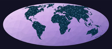 Global Internet Business Concept. Bromley Projection. World Network Map. Wired Globe In Bromley Projection On Geometric Low Poly Background. Elegant Vector Illustration.