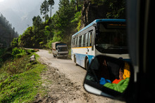 Row Of Busses In Dirty Road In Indian Himalayas