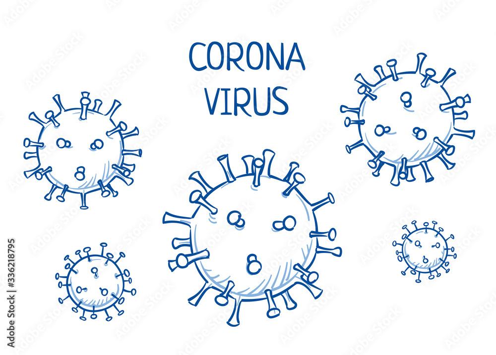 Fototapeta Set of corona virus icons. Hand drawn line art cartoon vector illustration.