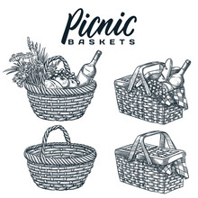 Picnic Baskets Isolated On White Background. Vector Hand Drawn Sketch Illustration. Summer Outdoor Lunch Design Elements