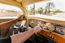 Hands On Steering Wheel In Car...