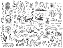 Easter Hand Drawn Vector Doodles Over White Background