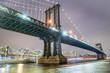 Amazing night view of Manhattan and Brooklyn Bridge at night, winter season, New York City