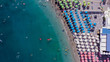 Aerial view of a touristic beach at Positano during the summer, Province of Salerno, Italy.
