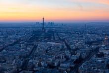 Paris Cityscape At Sunset. Eif...