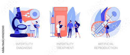 Fototapeta Pregnancy planning, reproductive function problems. Infertility diagnosis, infertility treatment, artificial reproduction metaphors. Vector isolated concept metaphor illustrations. obraz