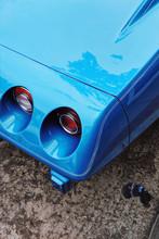 A Deep Blue Muscle Car Corner.
