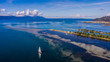 Aerial view of sailing boat at Neretva river mouth in Dalmatia, Croatia.