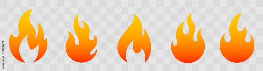 Fototapeta Fire icons for design. concept flame, fire, icon, vector illustration in flat style