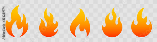Fototapeta Fire icons for design. concept flame, fire, icon, vector illustration in flat style obraz