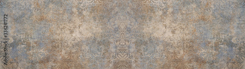 Old brown gray vintage shabby patchwork motif tiles stone concrete cement wall t Canvas Print
