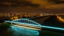 Aerial View Of Railway Bridge Over Sava River In Zagreb, Croatia.