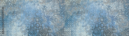 Obraz Old gray blue vintage shabby patchwork motif tiles stone concrete cement wall texture background banner  - fototapety do salonu